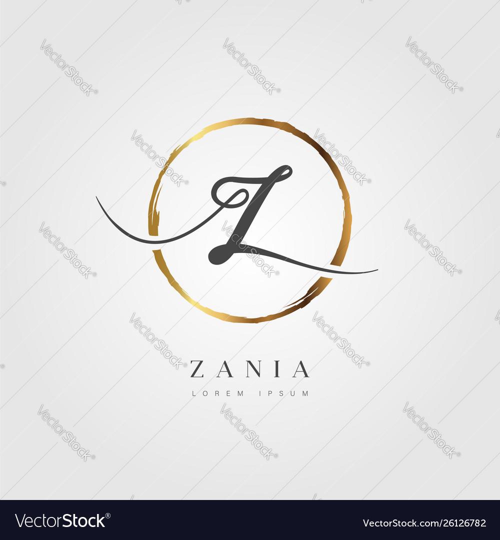 Gold elegant initial letter type z