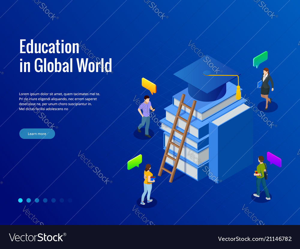 Isometric banner for web education in global world