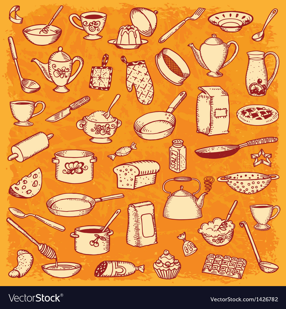 Kitchen And Cooking Doodle Set