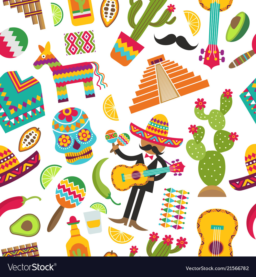 Mexican seamless pattern colored pictures of