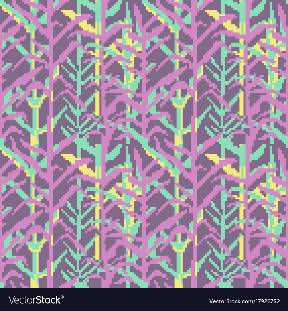 Military pixelate seamless pattern with grass