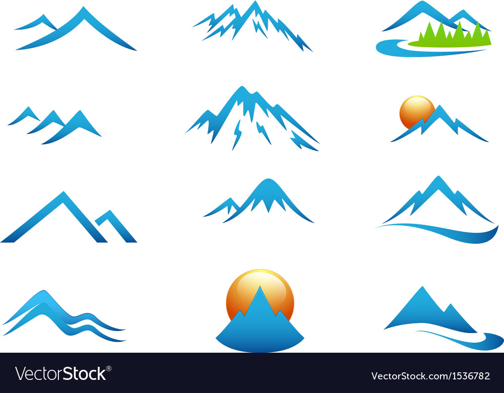 Mountain icon collection set