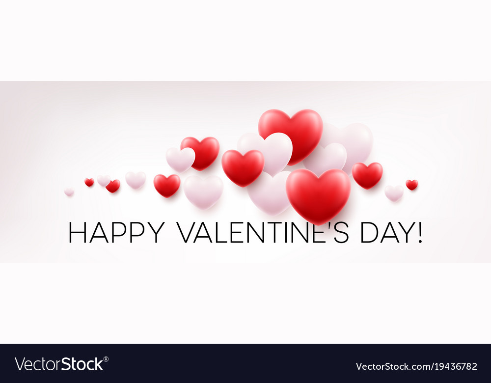Red hearts background with happy valentines day