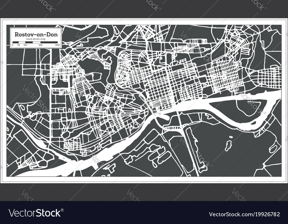 Rostov on don russia city map in retro style Vector Image