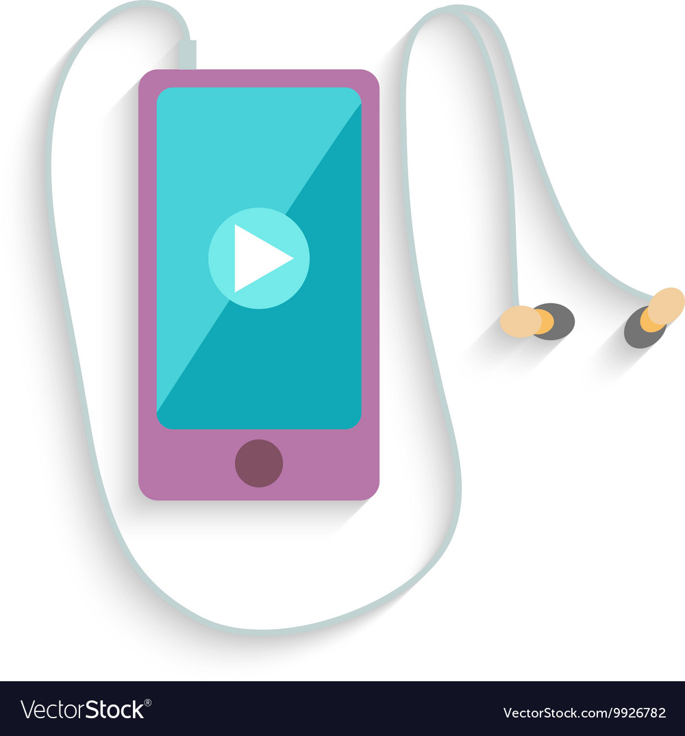 Smartphone with headphones and play sign flat
