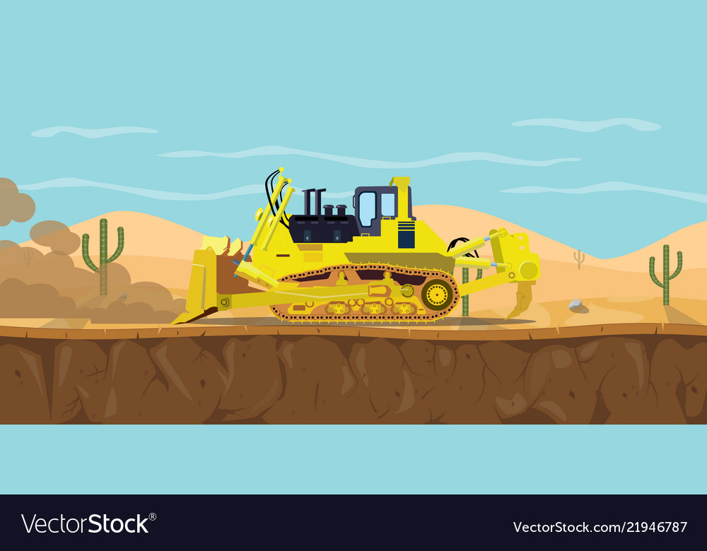 A bulldozer heavy equipment on desert with cactus