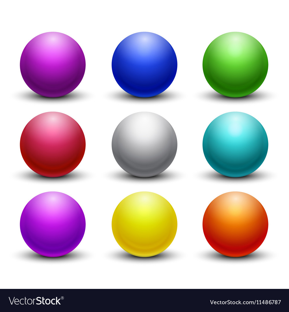 colored glossy shiny 3d balls spheres set vector imageSpheres #7