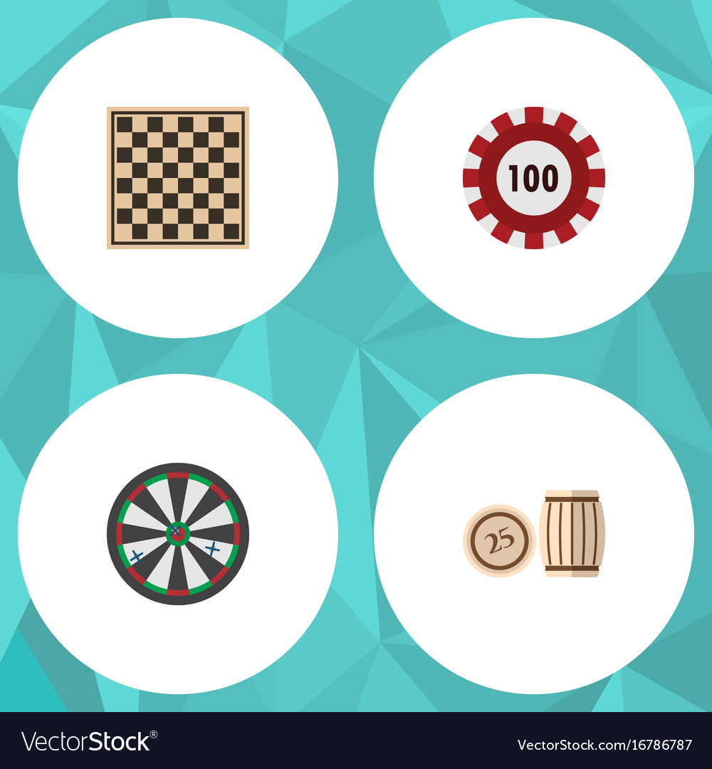 Flat icon games set of lottery poker chess table