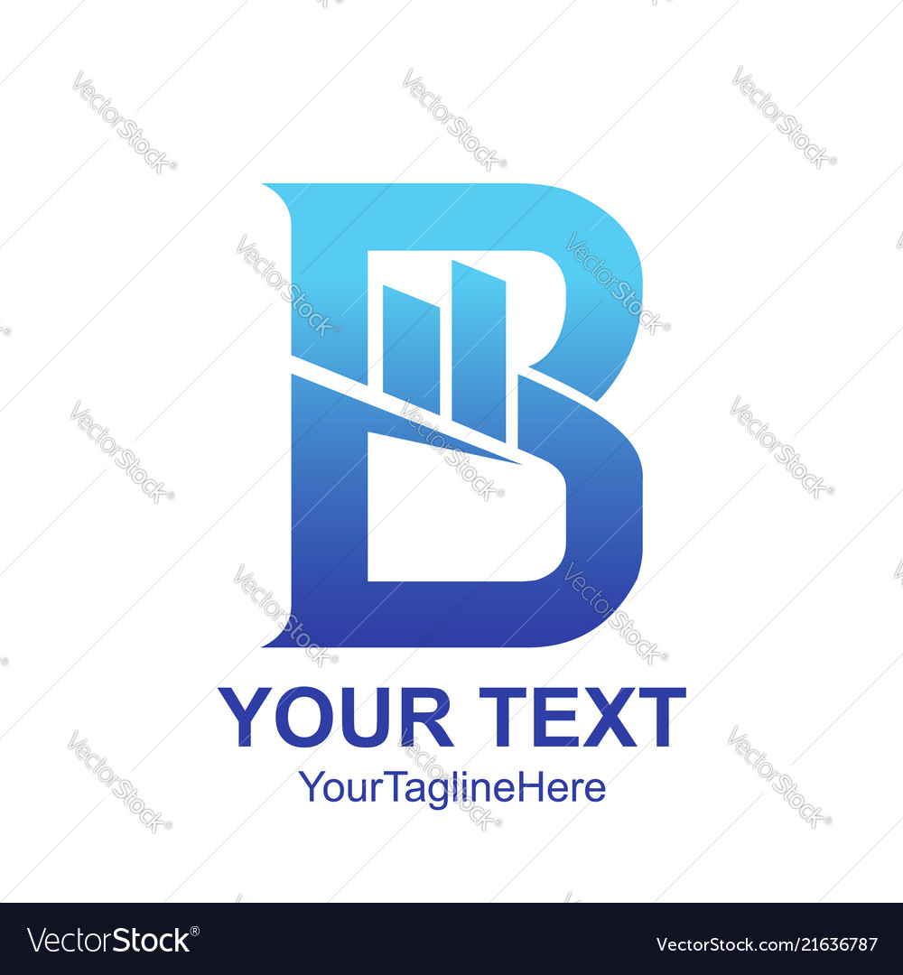 Initial letter b logo template colored blue graph