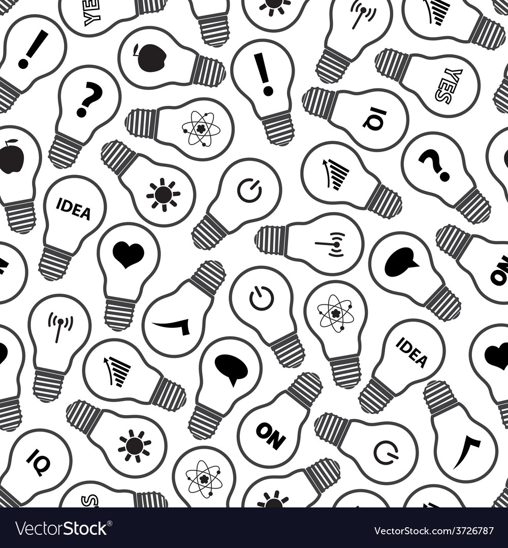 Light bulb symbols with various idea icons pattern