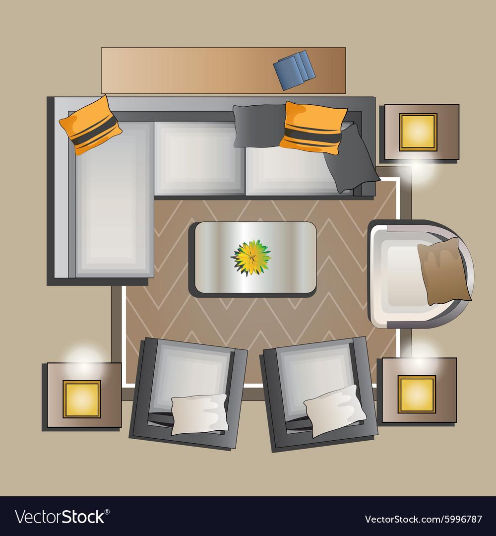 VectorStock & Living room furniture top view set 2
