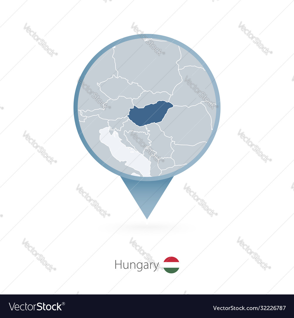 Map Pin With Detailed Map Hungary And Royalty Free Vector
