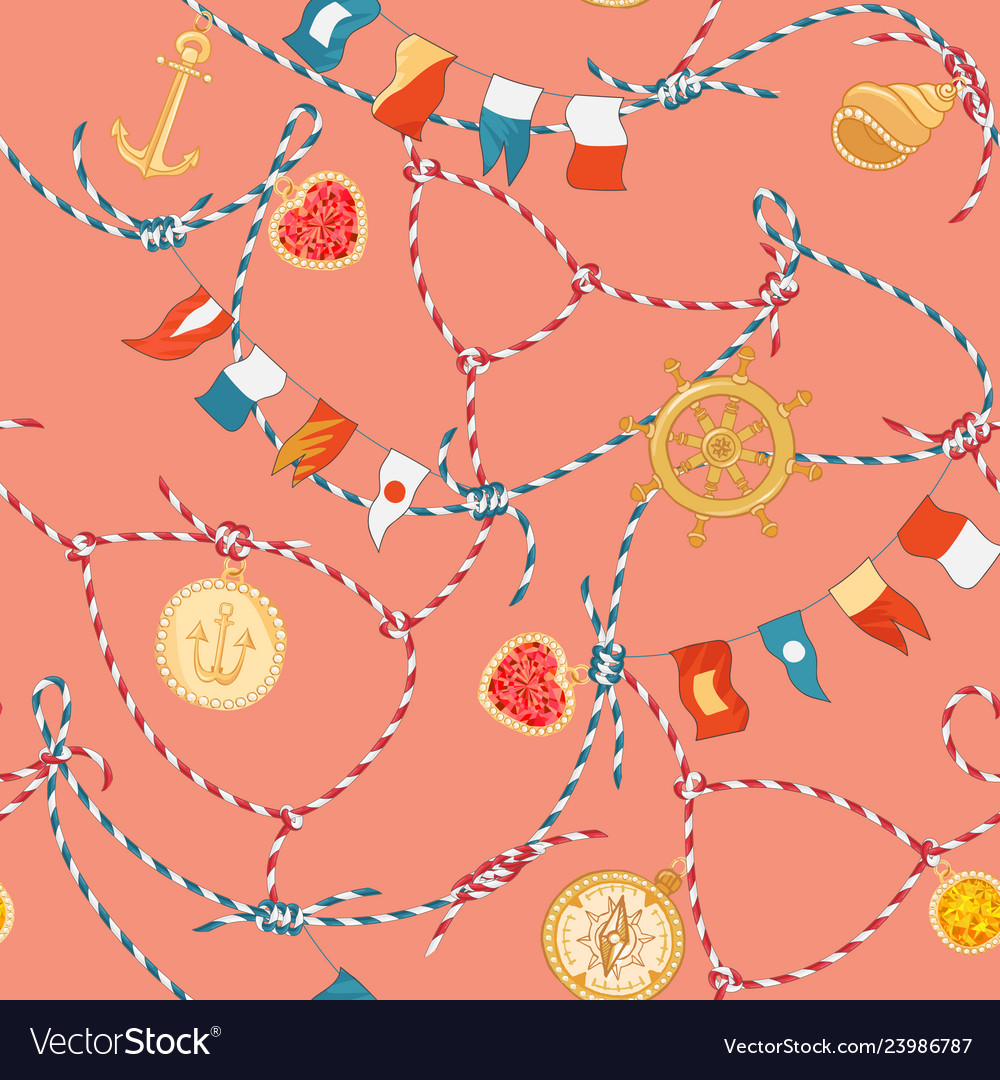 Marine seamless pattern with rope knot gemstones