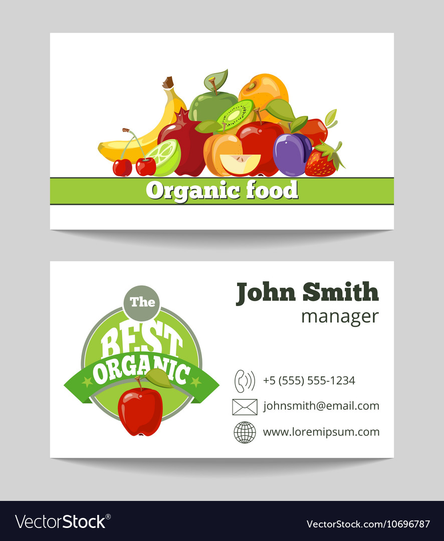 Organic food shop business card template vector image cheaphphosting