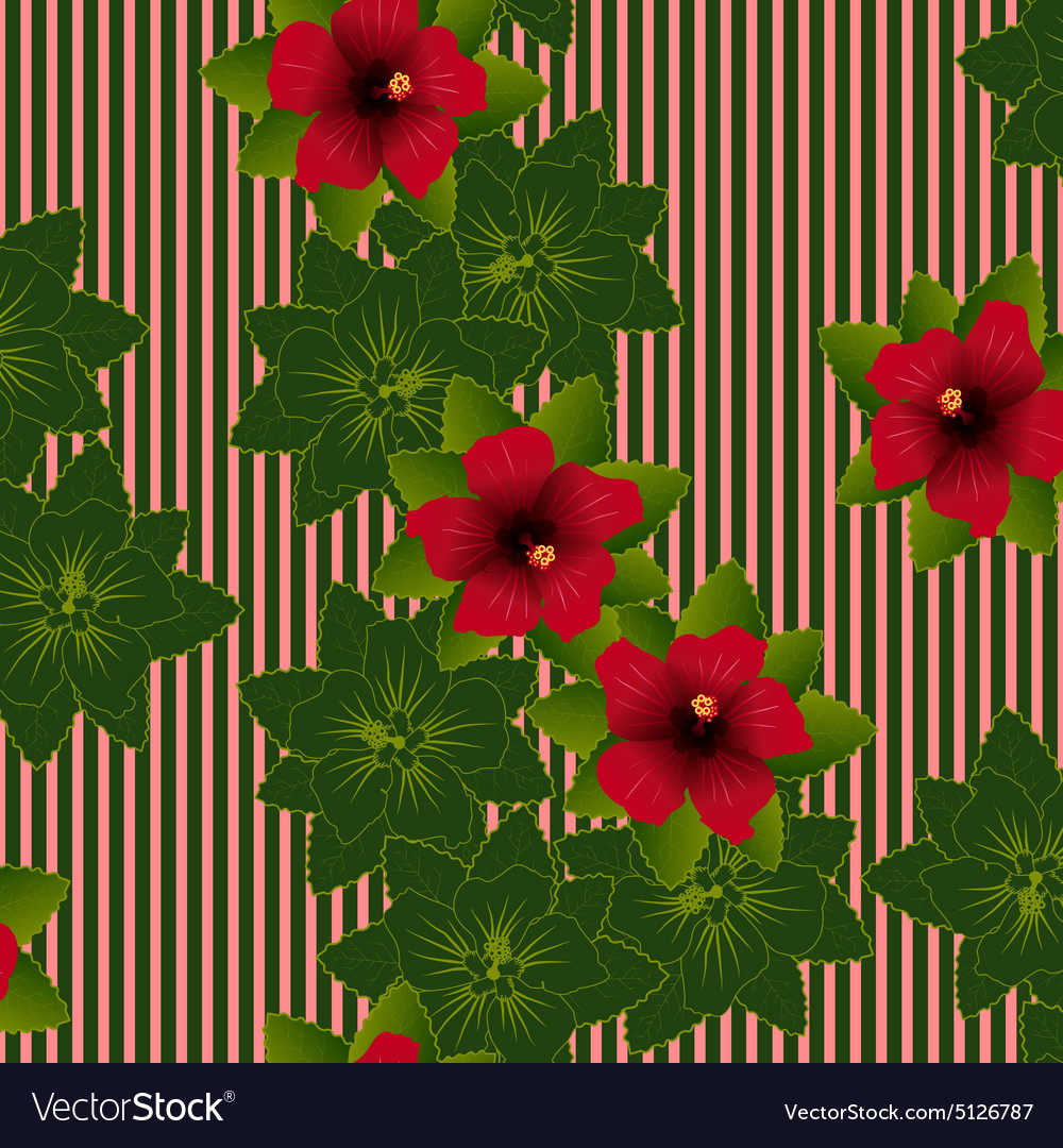 Red Flower Of Hibiscus Royalty Free Vector Image