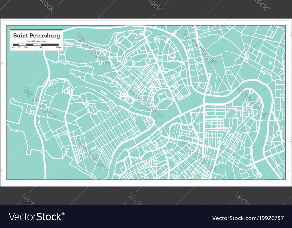Saint Petersburg Russia City Map In Retro Style Vector Image