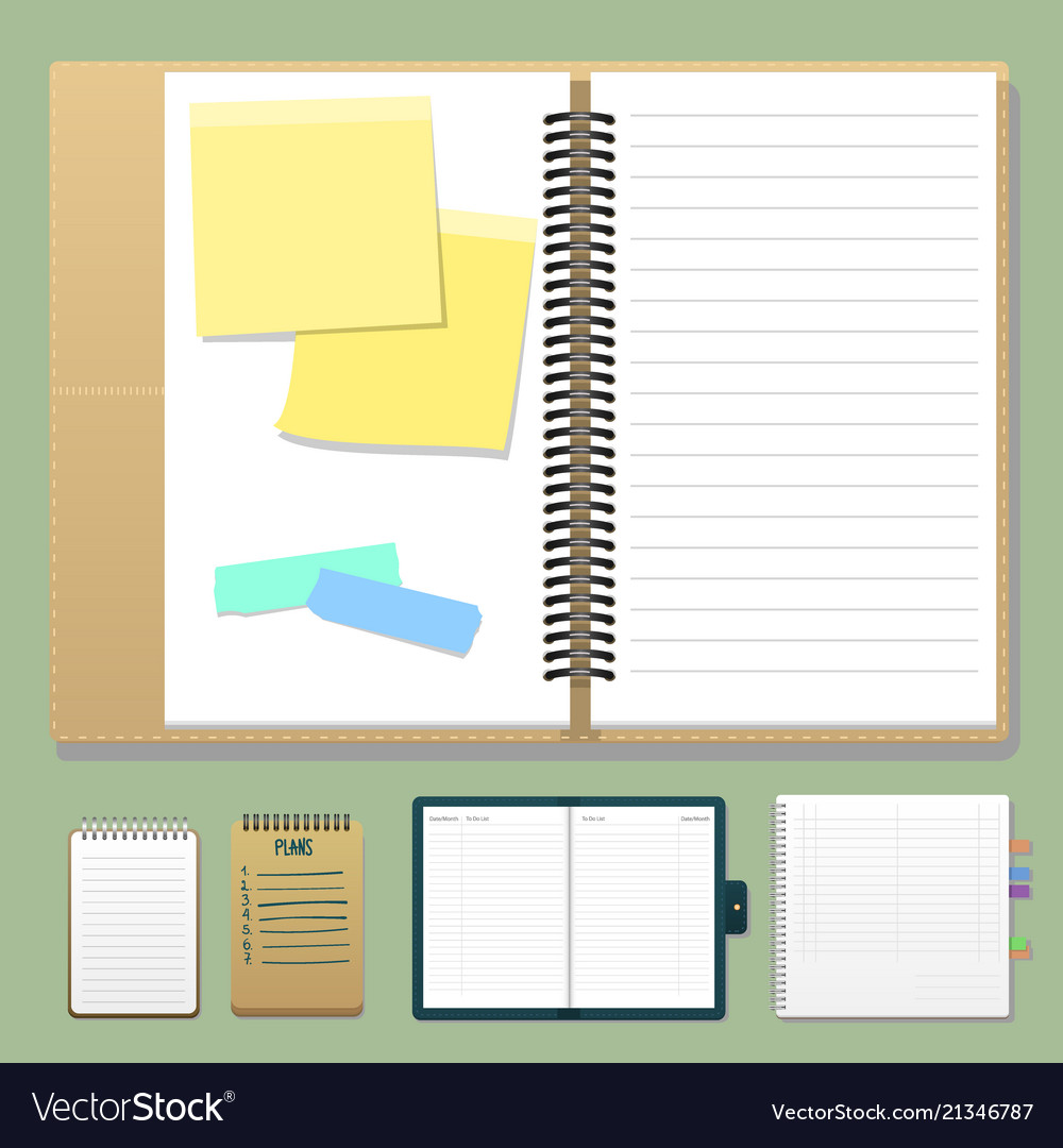 Set of open realistic notebooks with pages diary