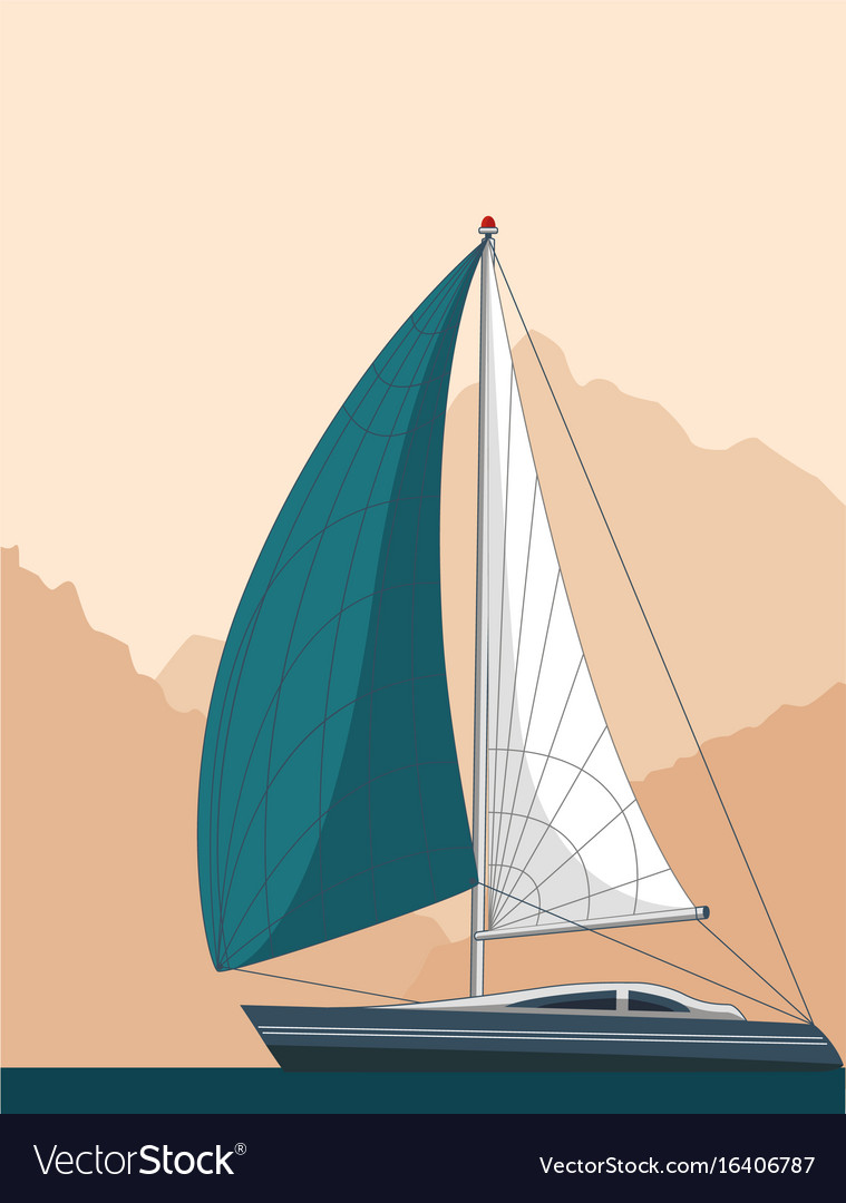 Yacht club flyer design with sail boat