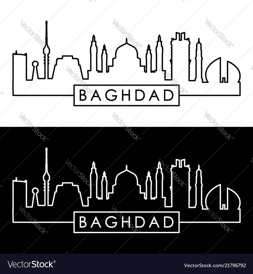 Baghdad skyline linear style editable file