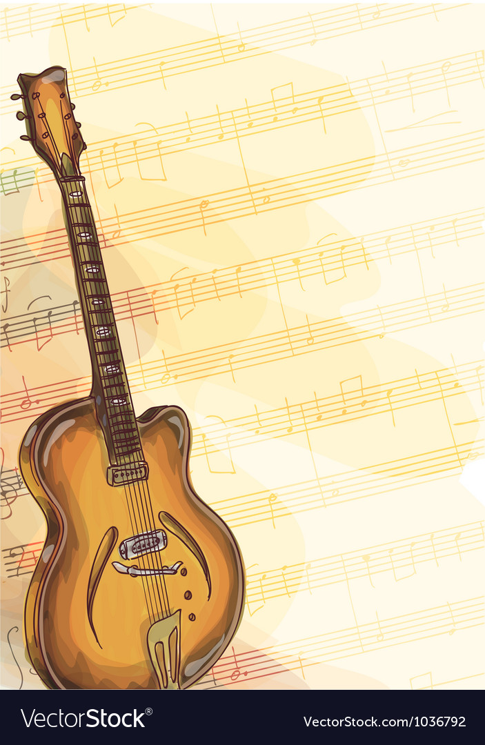 Bass Guitar on music background vector image