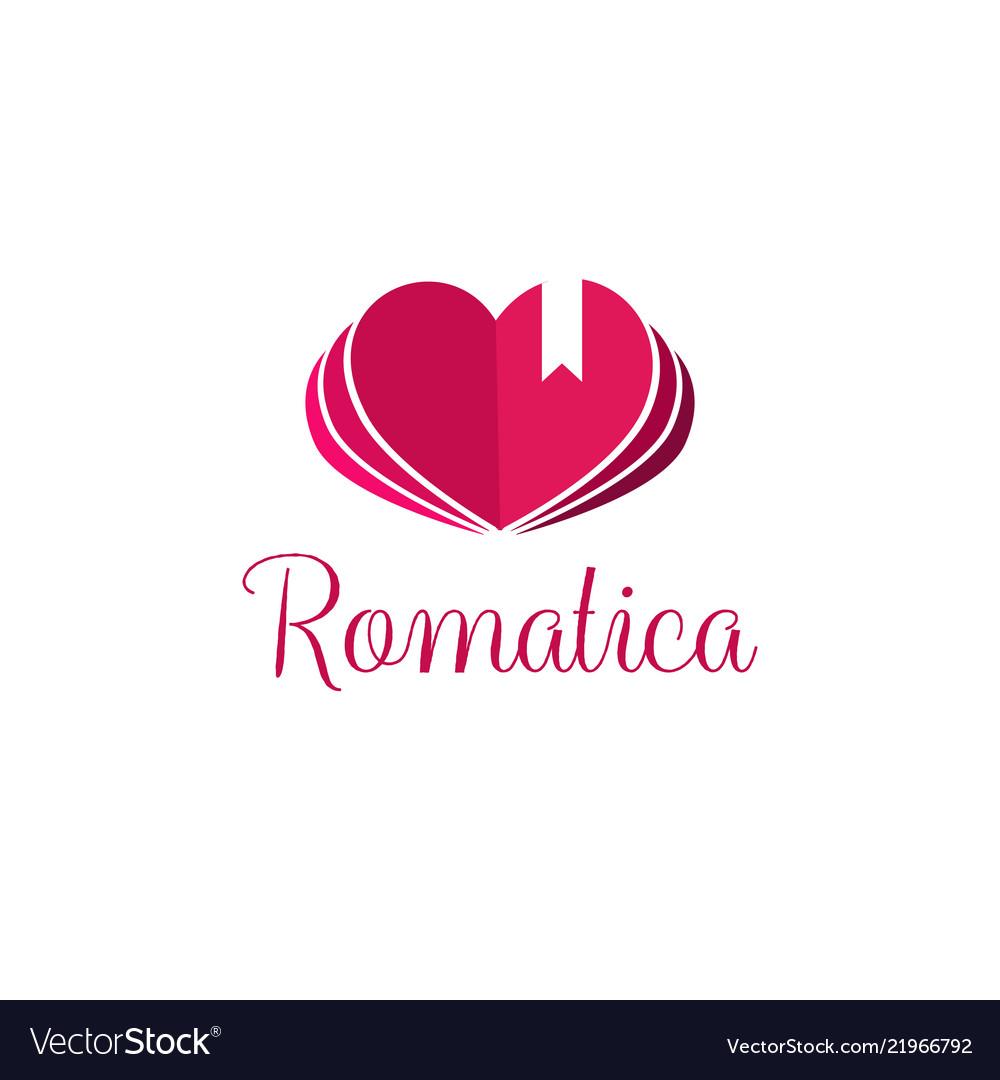 Book heart symbol logo icon design template