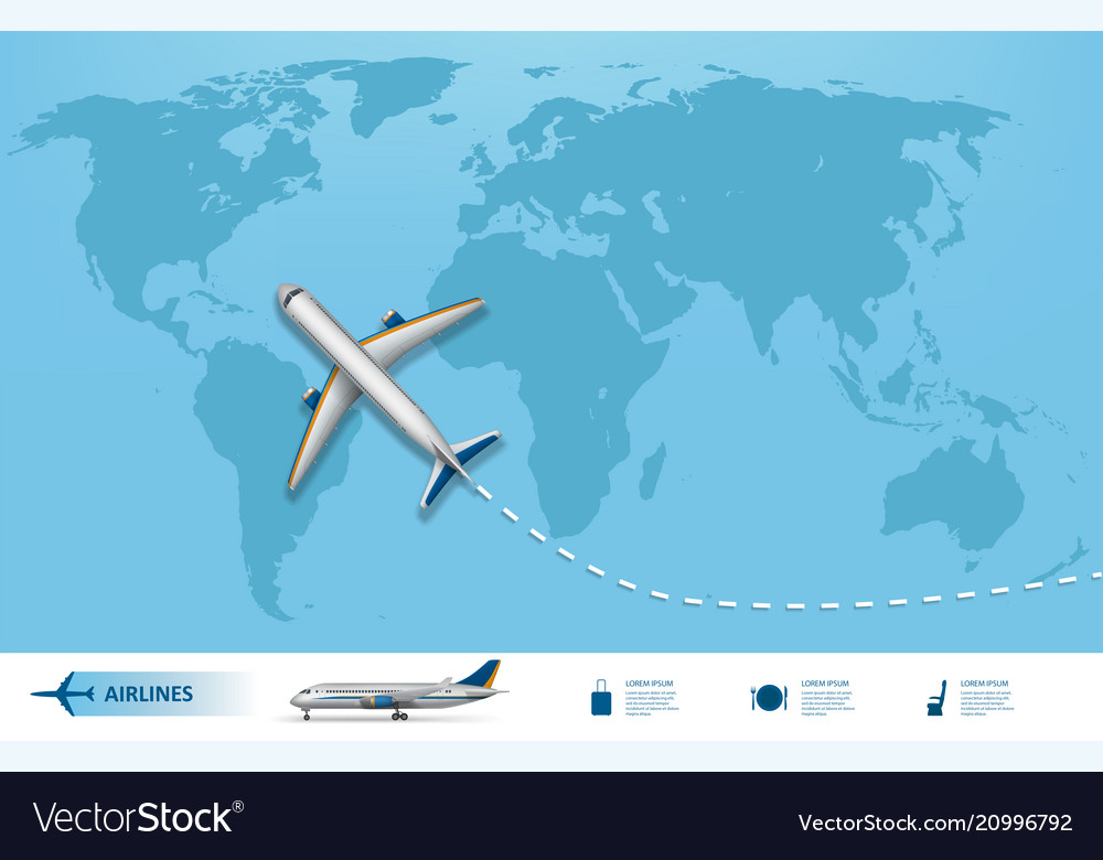 Business trip banner with airplane and world map