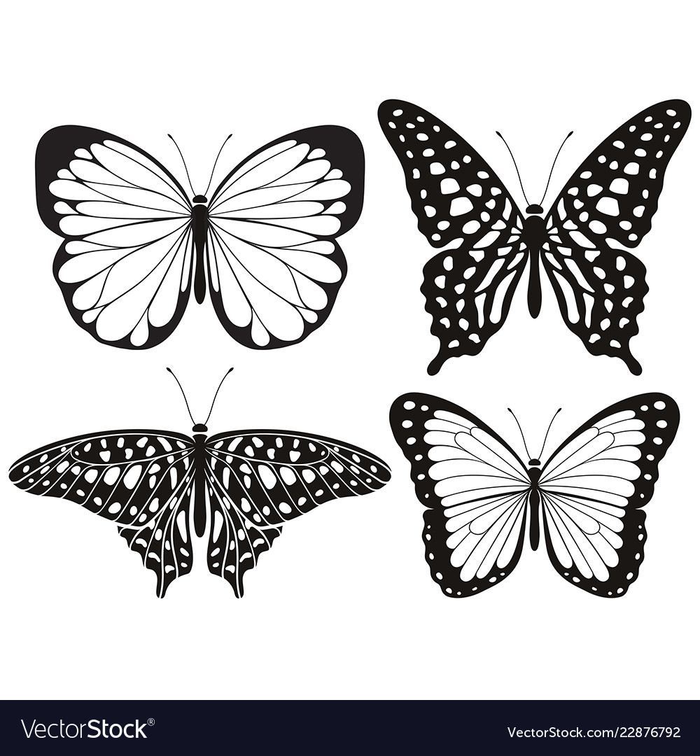 Butterfly silhouette icons set