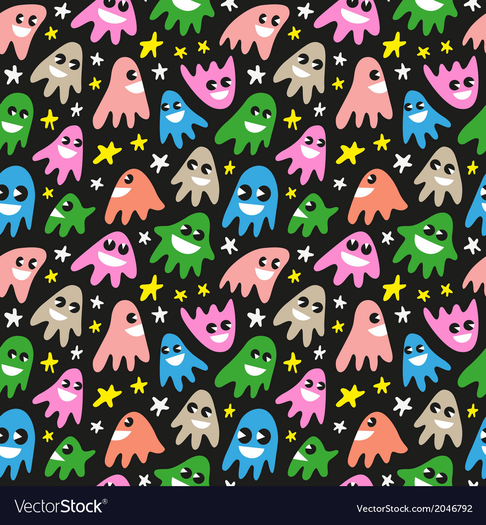 Funny ghosts - seamless background