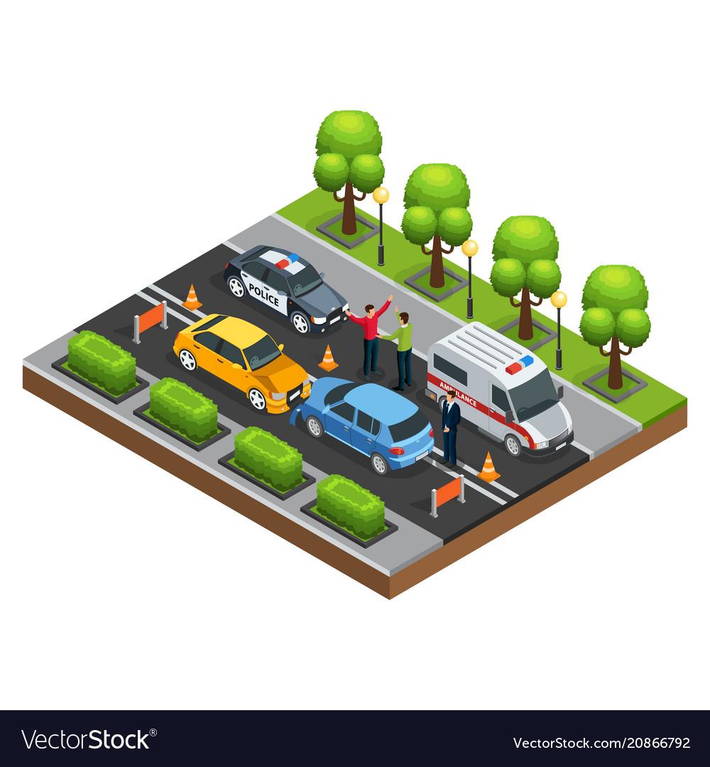 Isometric car accident concept