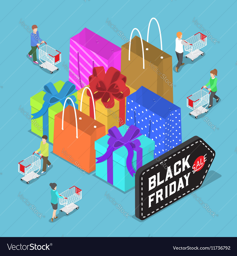 Isometric people shopping in black friday sale