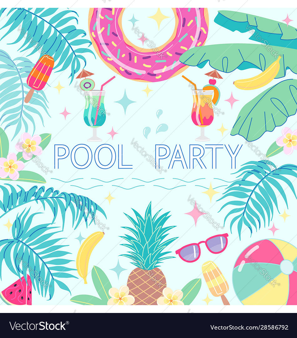 Summer background card template for pool party