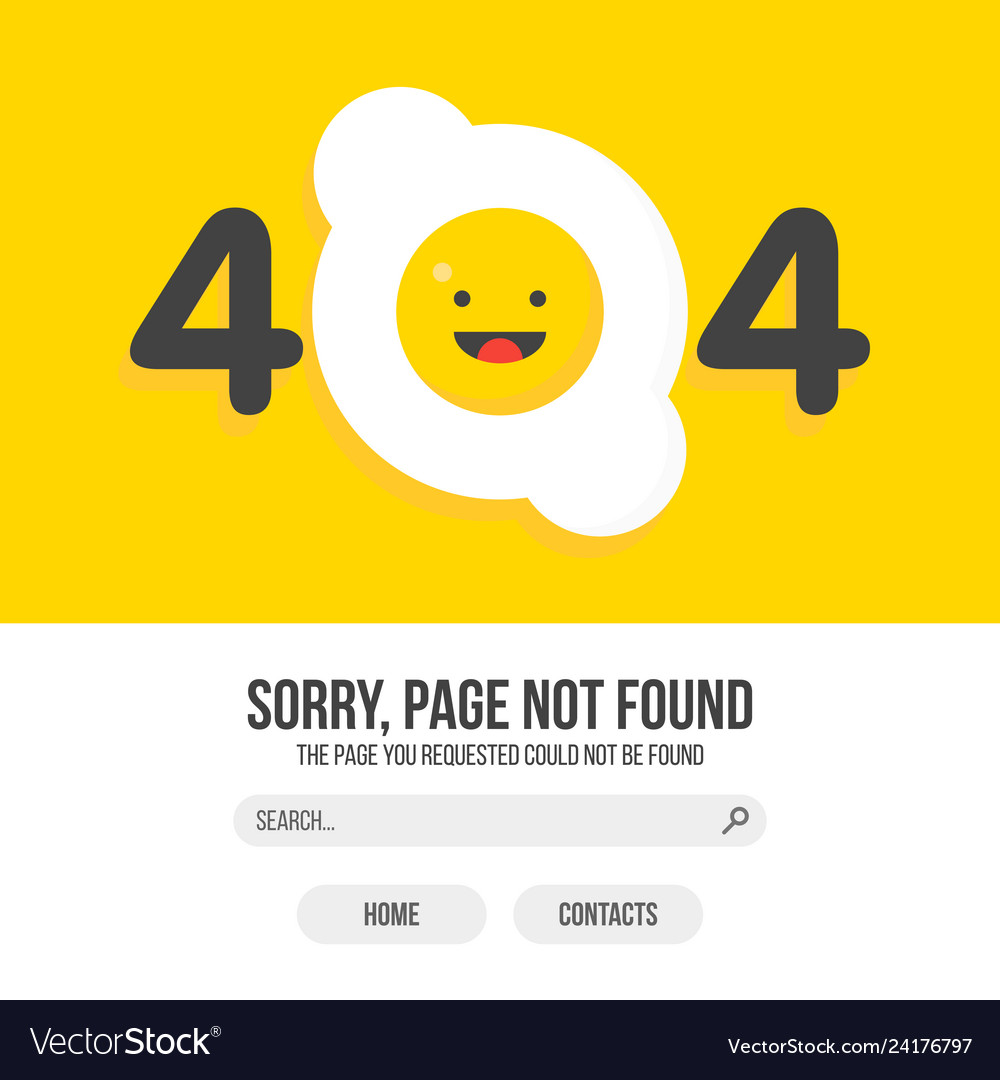 404 error with fried egg on yellow background