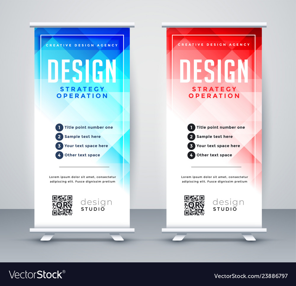 Roll Up Banner Template Vector Image