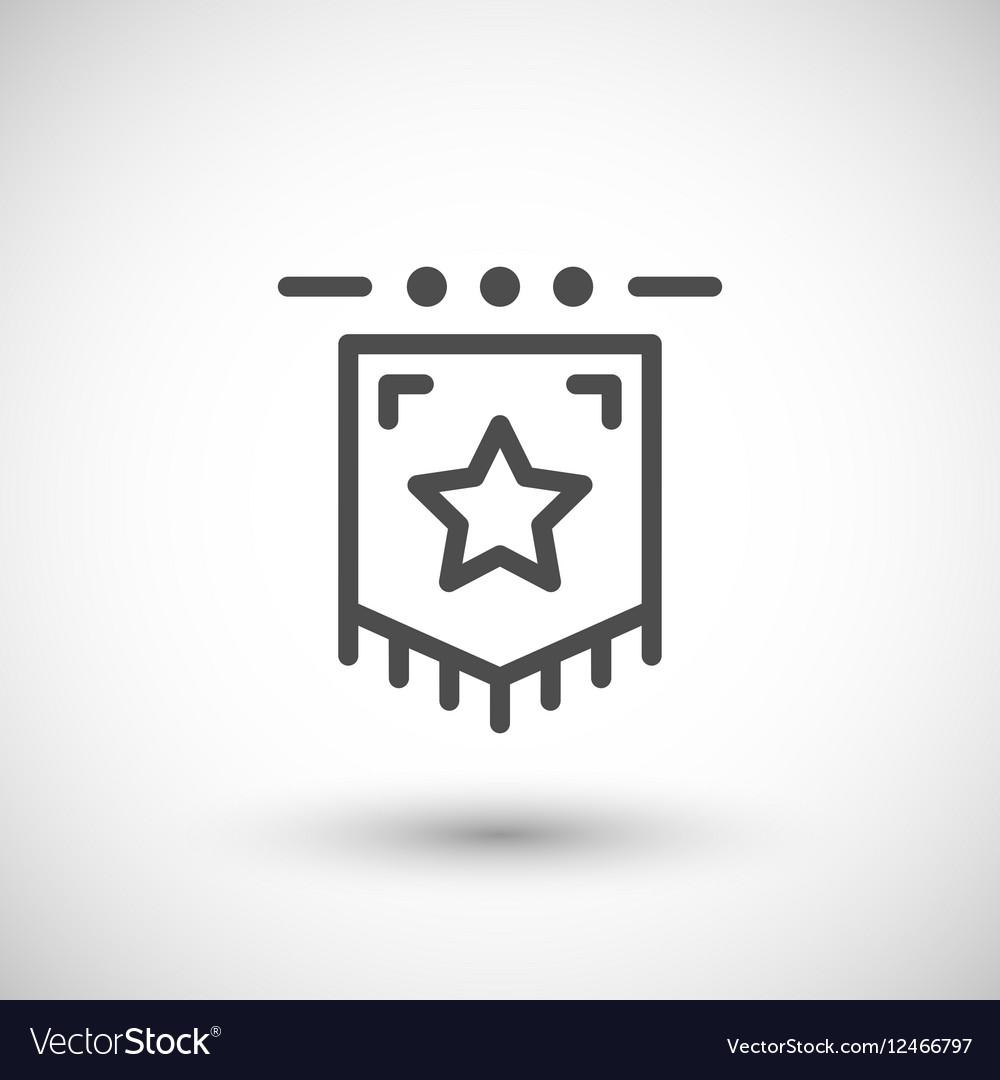 Award flag line icon
