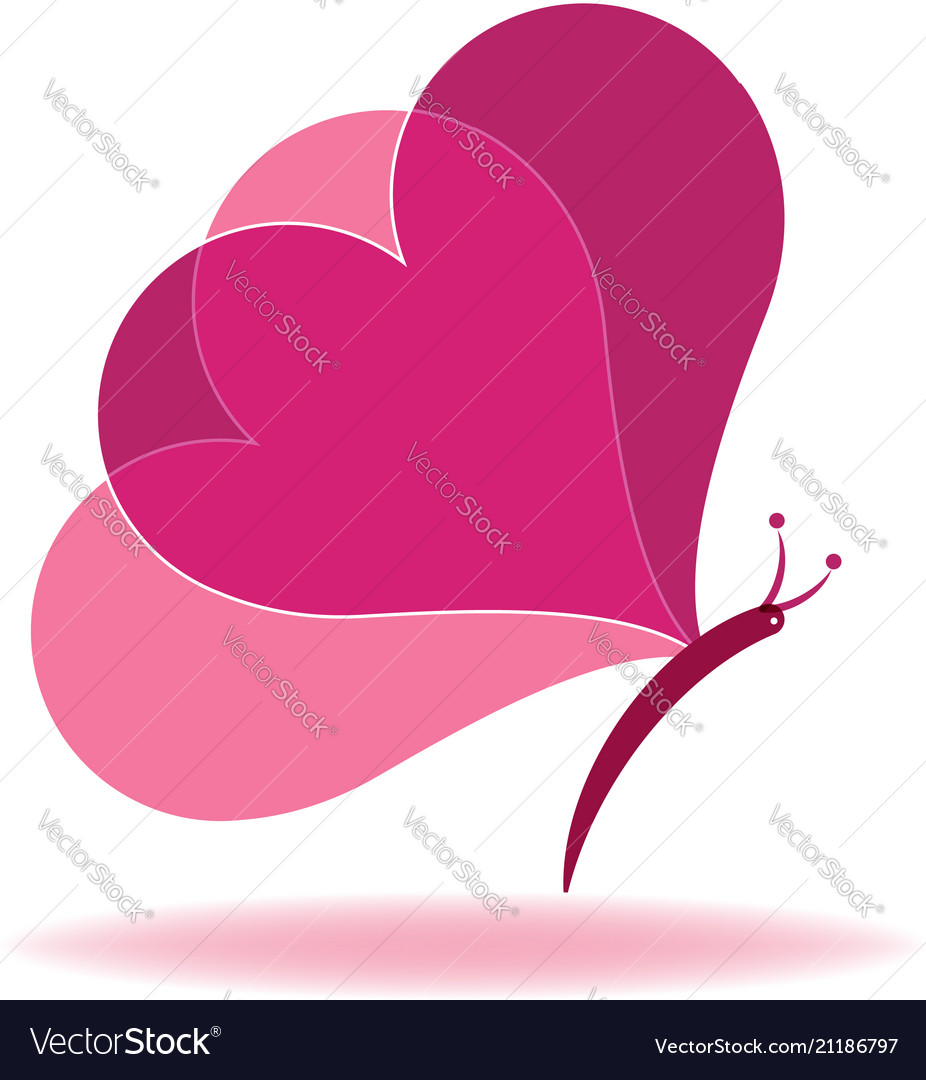 Butterfly heart shape abstract icon