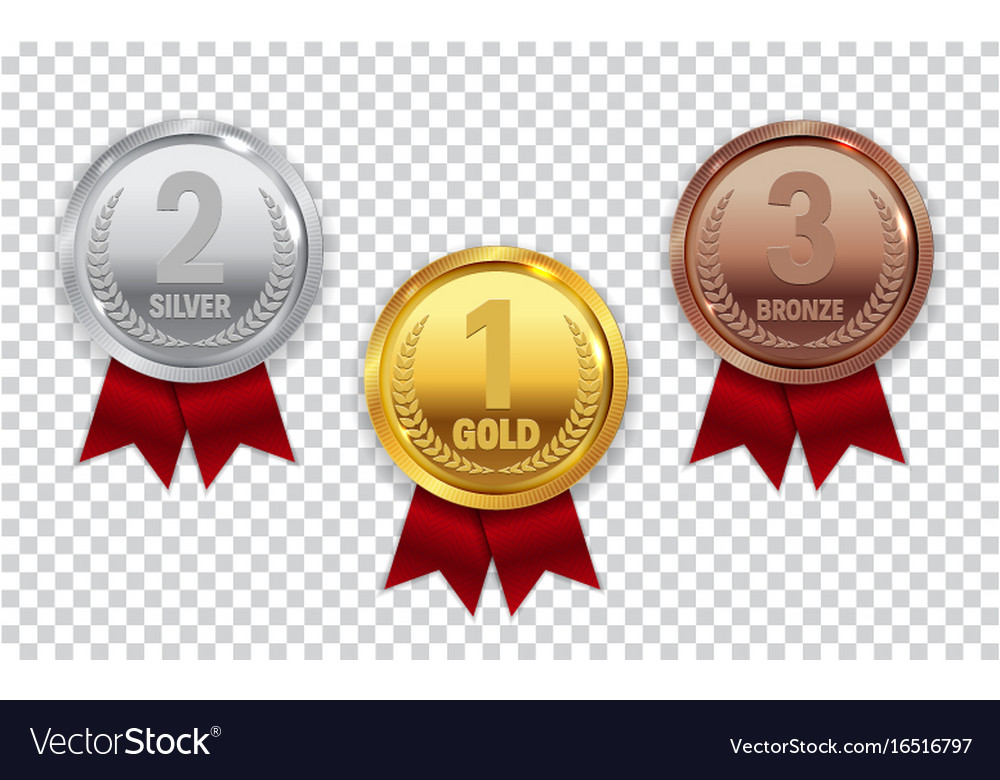 Champion gold silver and bronze medal with red