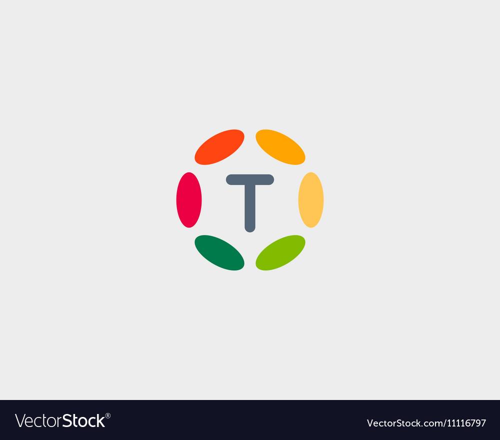 Color letter T logo icon design Hub frame vector image