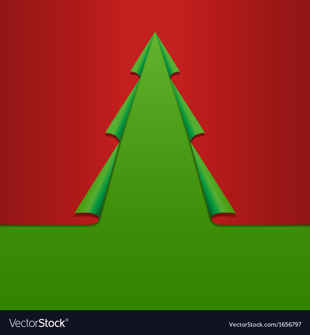 Creative Christmas Tree Card Template Curled vector image