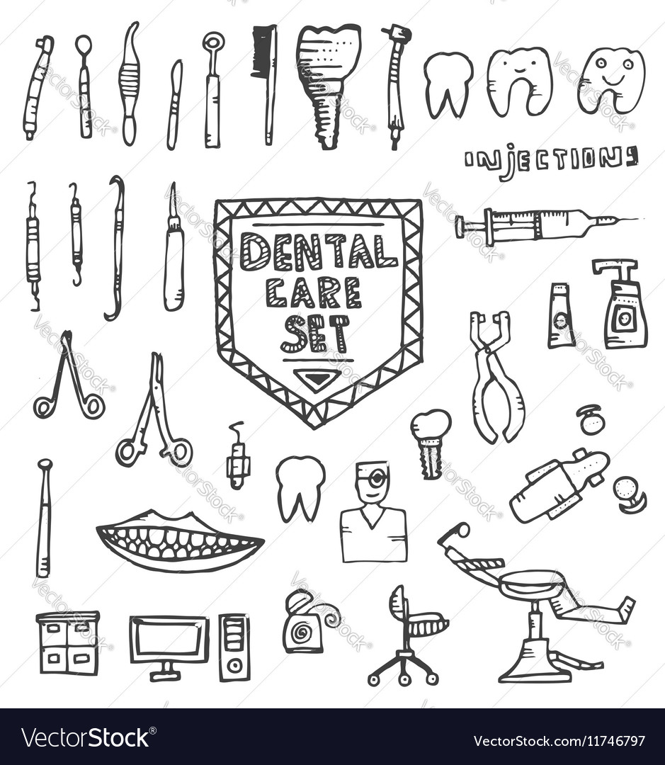 Dental Care Set with Different Hand Drawn Icons