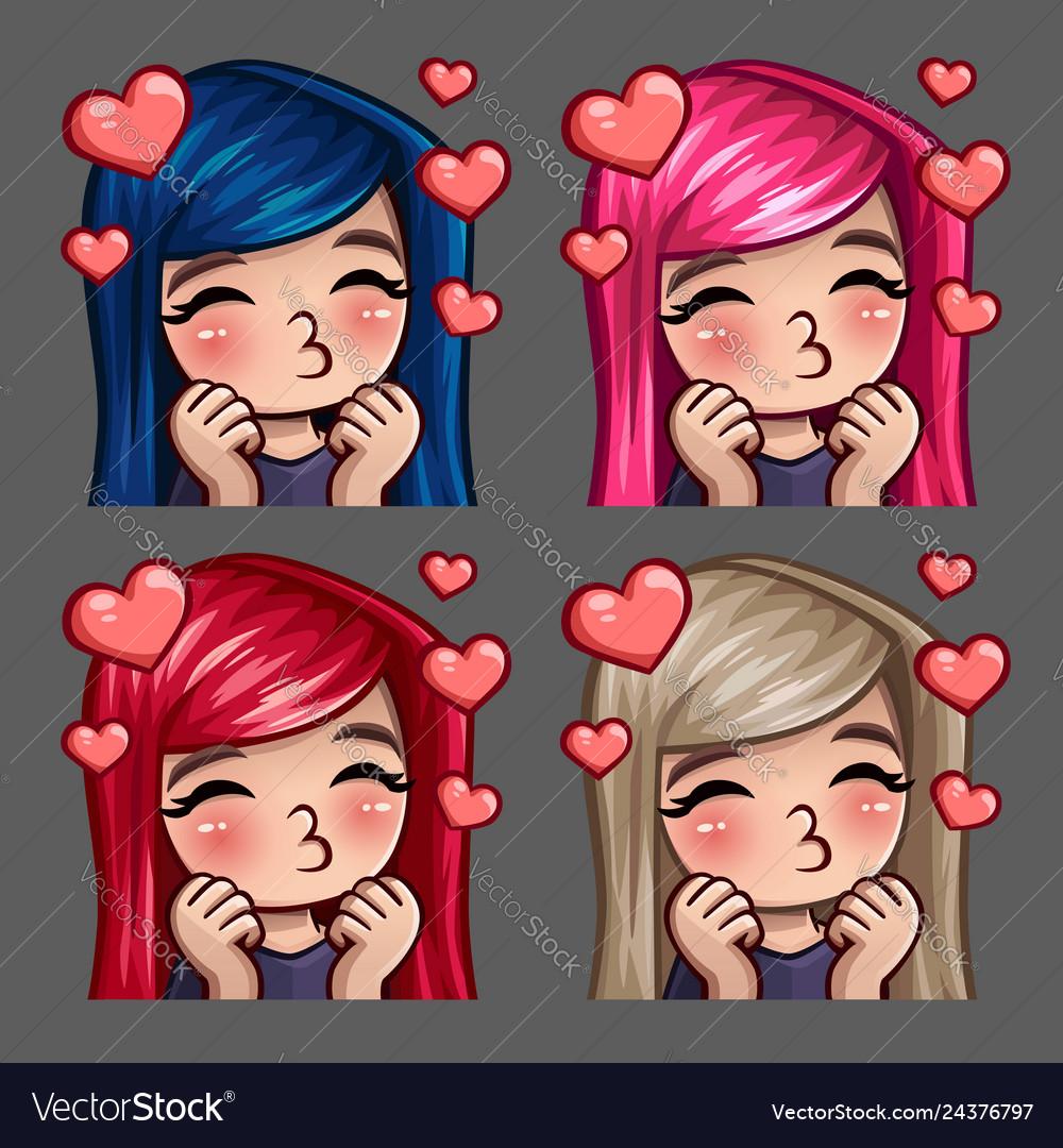 Emotion icons happy female kisses
