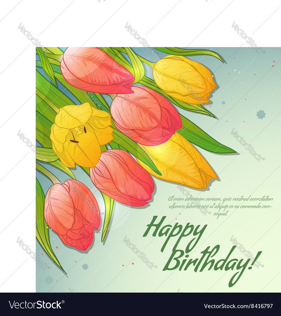 Floral decorative card with red and yellow tulips