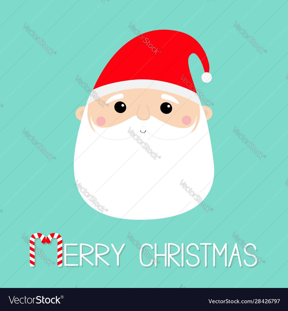 Merry christmas santa claus face head round icon