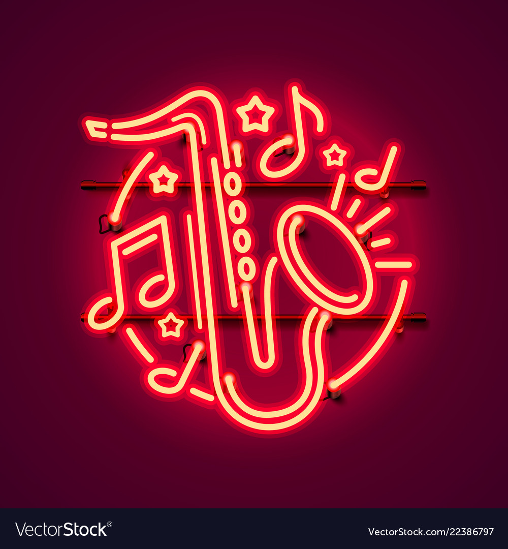 Neon label music jazz banner