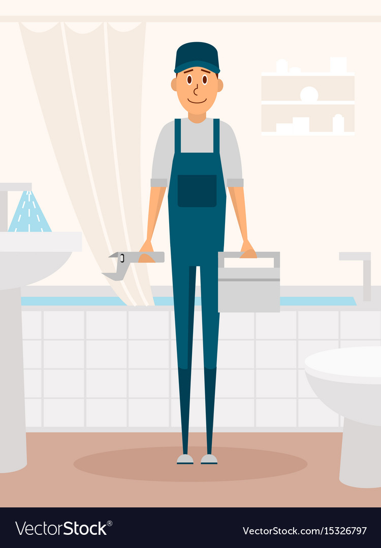 Plumber worker cartoon character male character