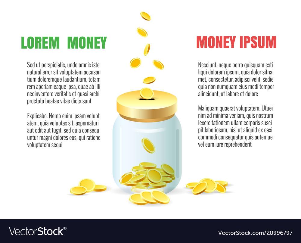 Save dollar coins in jar concept