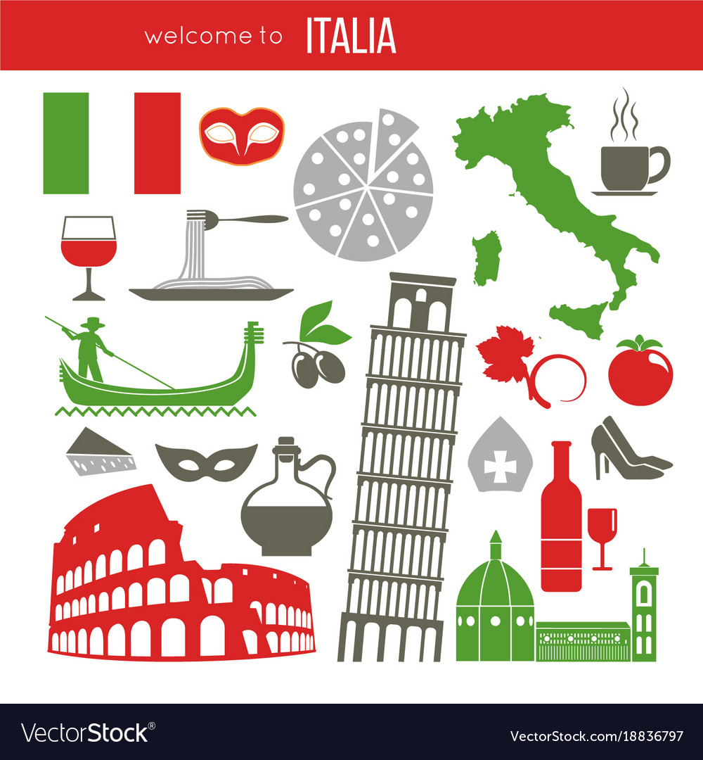 Set Of Rome Italy Symbols Italian Royalty Free Vector Image
