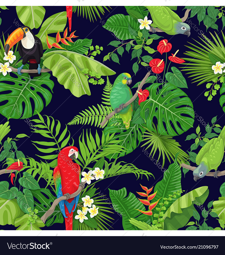 Tropical birds and plants pattern