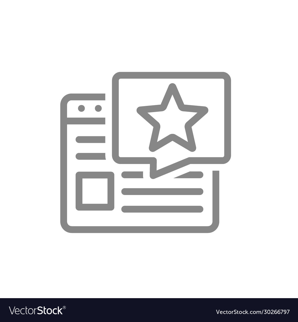 Website with star in speech bubble line icon user