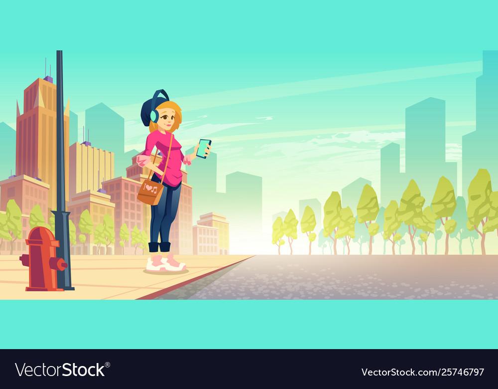 Woman listen music on street outdoor walk leisure