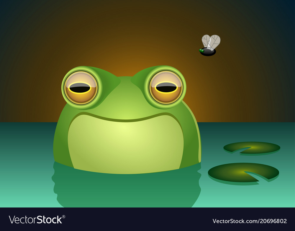 A happy frog character smiling inside a swamp